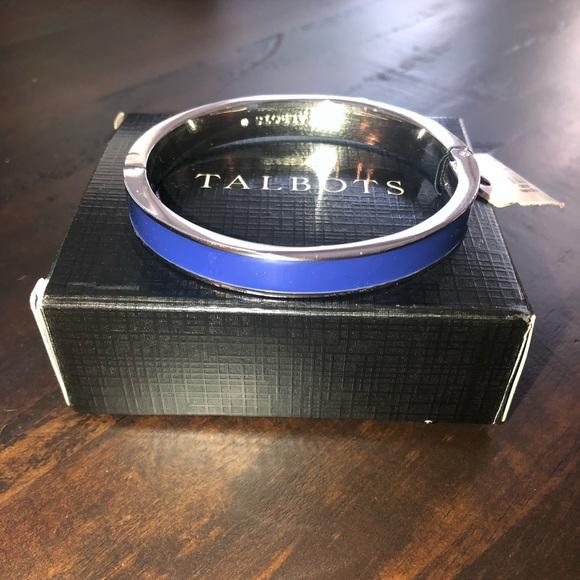 Talbots Blue Dazzle Rhodium Enamel Hinged Bracelet